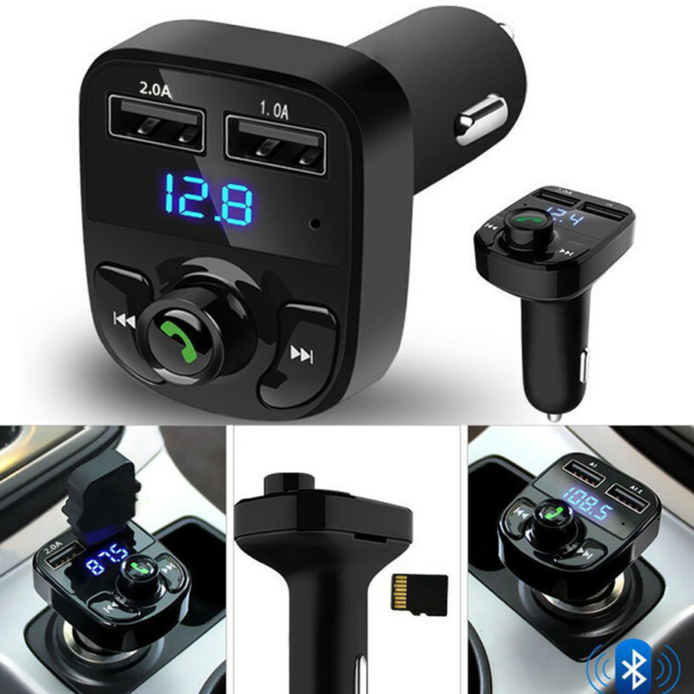 Wireless BT Hand-free Car FM Transmitter MP3 Player Dual USB Charger Blue Light Automatic Memory Of Power Failure