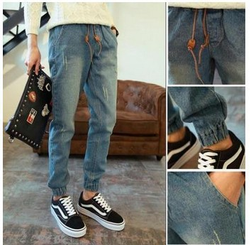 Hot Sales Hot Selling Men's Beam Leg Jeans Slim Women's Skinny Trousers Men's 2017 Autumn A Large Amount Korean-style