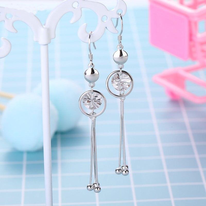 Женские Длинные круглые серьги из стерлингового серебра 925 пробы, корейские модные ювелирные изделия 2020, серебряные золотые серьги, pendientes plata de ley 925|Серьги|   | АлиЭкспресс