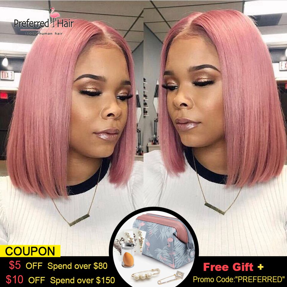 Preferred Preplucked Transparent Lace Wigs 150 Density 13x6 Short Human Hair Wigs Glueless Bob Lace Front Wigs For Black Women