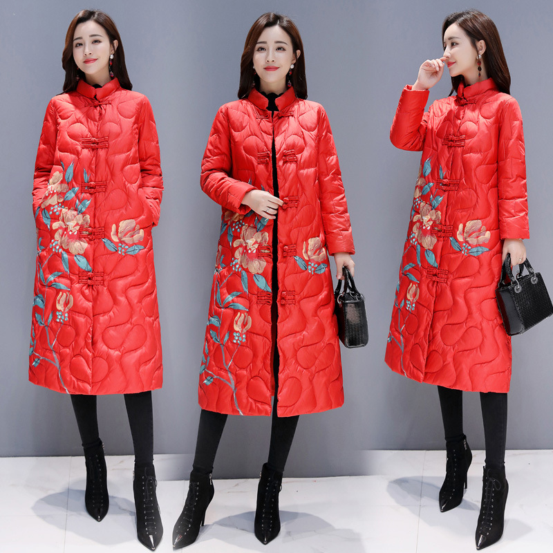Stand Collar Zipper Floral Embroidery Cotton-padded Clothes/Cotton Coat 2018 Winter Long Sleeve Long Straight-Cut Pocket