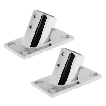 2 Pack Marine Stainless Steel 316 Boat Deck Handrail Pulpit Base 60 Degree 25mm 1'' image