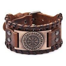 Retro viking leder armband für männer mit Odin symbol von runes Nordic kompass armbänder