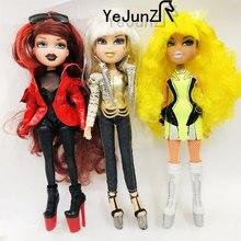 원래 패션 폭탄 머리 미친 girll 액션 인형 인형 흰색 빨간색 녹색 변경 머리 bratzdoll 마법 소녀와 아름다운 옷 인형 최고의 선물