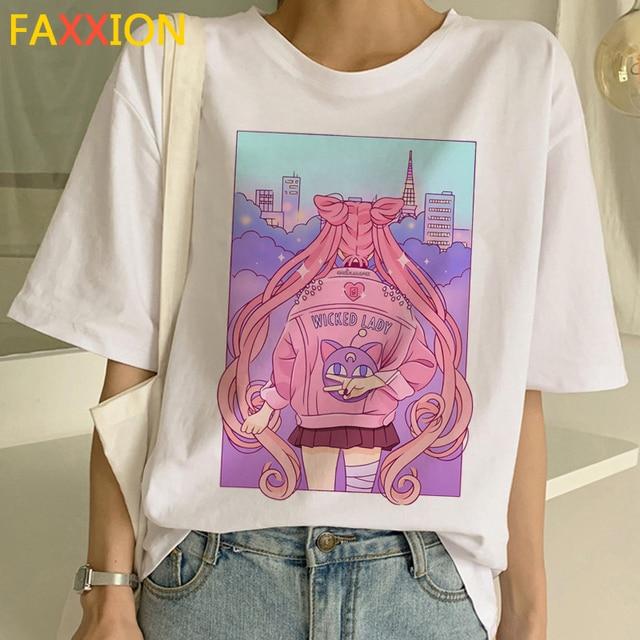 2020 Sailor Moon Harajuku Ullzang T-shirt Vrouwen 90 S Grappige Anime T-shirt Leuke Kat Tshirt Esthetische Cartoon Top Tee vrouwelijke