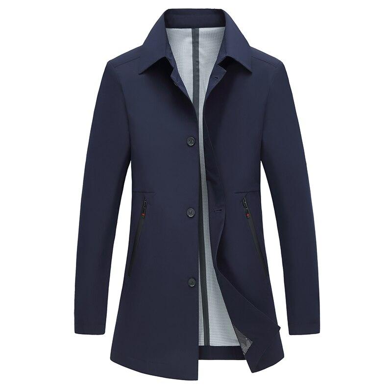 Мужское пальто, повседневный осенний весенний плащ, однотонная мужская ветровка с отложным воротником, куртка, черный, темно-синий, серый, д...