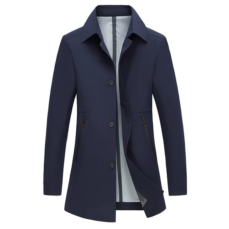 Coat Men Casual Autumn Spring Trench Coat Solid Men's Windbreaker Turn-down Collar Jacket Black Navy Blue Gray Long Jacket Men