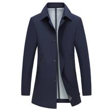 Coat Men Casual Autumn Spring Trench Coat Solid Men's Windbreaker Turn-down Collar Jacket