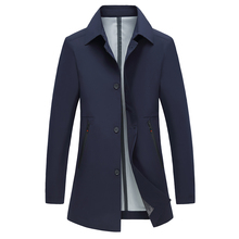 Coat Men Casual Autumn Spring Trench Coat Solid Men's Windbreaker Turn-down Coll