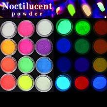 12 caixas/conjunto de brilho no brilho escuro prego fosforescente pó pigmento luminoso brilhando dia das bruxas natal decorações da arte do prego