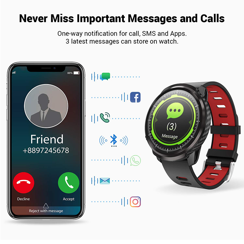 L3 Waterproof Smart Watch with Round Screen Heart Rate Pedometer and Call Message Reminder Smart Activity Tracker for Women Men 8