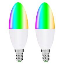 Умный светодиодный светильник-канделябр, разноцветная лампа с регулируемой яркостью RGB, эквивалентная лампа с Wi-Fi 40 Вт, совместимая с Alexa
