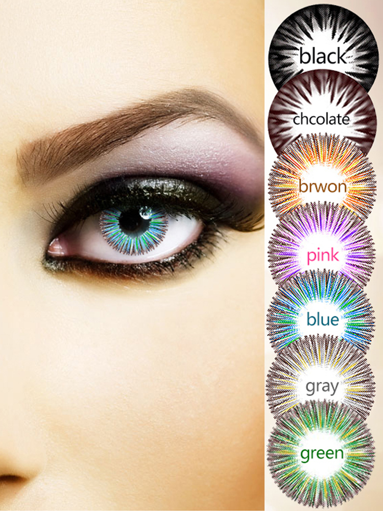 Eye-Decoration Color-Contact-Lenses Halloween Pupil Party-Gift Beautiful Female Multicolor