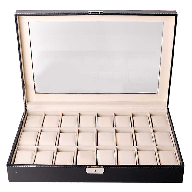 Watch Box Organizer Watch Case for Men Women Pu Leather 24 Slots for Display Storage Watch Holder with Glass Top Lockable Black