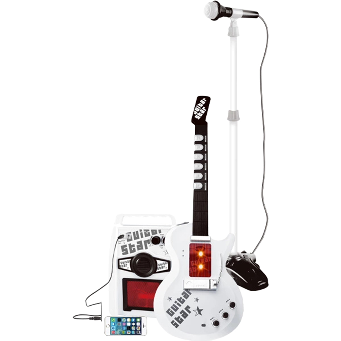 Kids Infrared Electronic Musical Toy Electric Guitar Karoake Music Toy With Micphone Stand Early Developmental Educational Toys