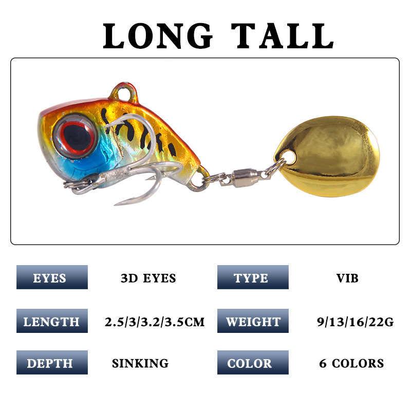 1PC Baru Logam Mini dengan Sendok Trout Memancing Umpan 9G Tenggelam Umpan Berputar Ekor Fishing Tackle Getaran Spinner pengiriman Cepat