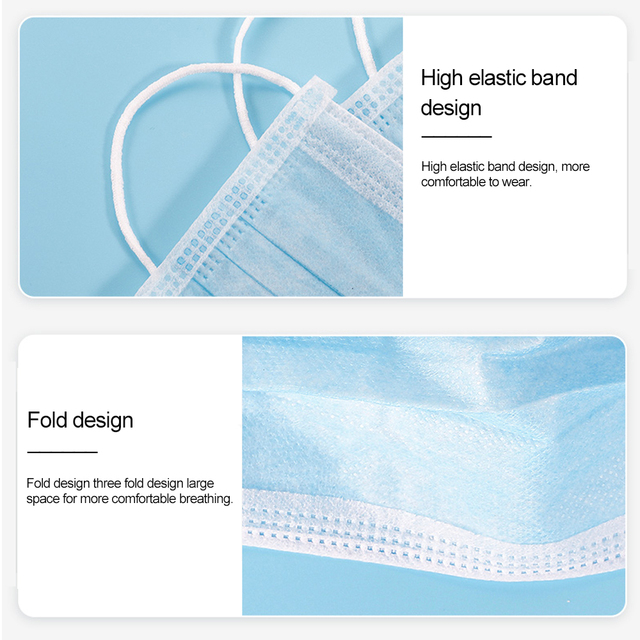 Fast delivery Hot Sale 3-layer mask Face Mouth Masks Non Woven Disposable Anti-Dust Meltblown cloth Masks Care Elastic Earloop 5