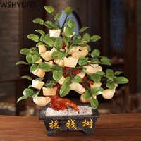 Натуральное Нефритовое дерево Фортуны орнамент богатство китайское дерево слиток счастливые деньги дерево орнамент украшение для дома и о...