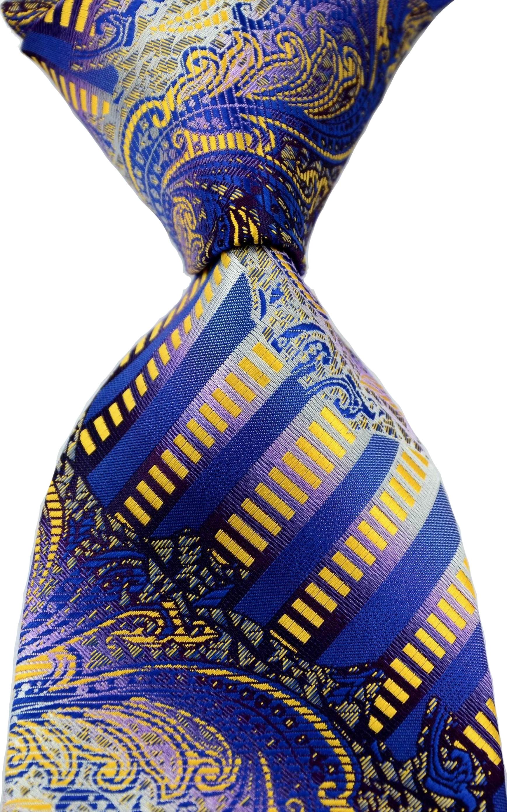 Fashion Neckties Classic Men's Striped Paisley Blue Gold Red Wedding Ties Jacquard Woven 100% Silk Men Neck Ties
