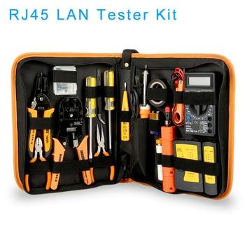 RJ45 LAN Tester Networking Repair Tool Kit RJ45 RJ11 RJ12 Network Cable Tracker Plier Crimp Crimper Plug Clamp PC Drop Shipping networking lab practice kit