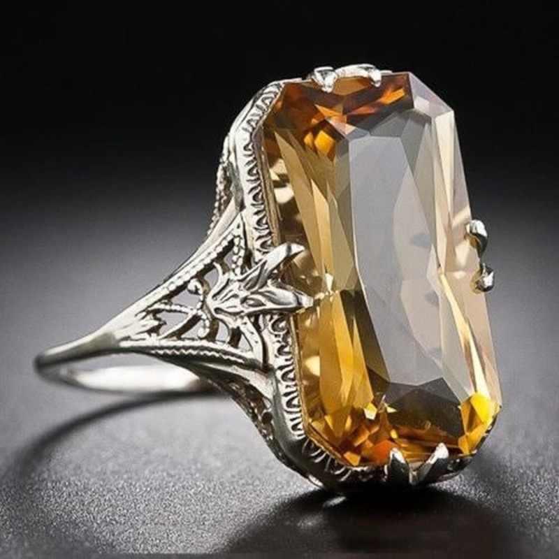 Citrino ahuecado tallado anillos de plata 925 joyas de plata exageradas para mujeres anillo de piedras preciosas