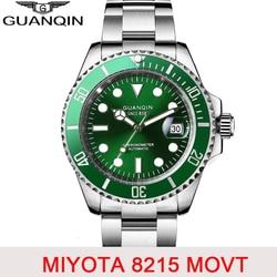 GUANQIN ساعة غوص 10Bar التلقائي الياقوت ساعة ميكانيكية الرجال اليابان حركة السيراميك العلامة التجارية الفاخرة التقويم مضيئة