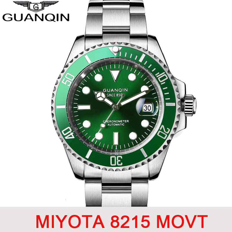 GUANQIN Diving Watch 10Bar Automatic Sapphire Mechanical Watch Men Japan Movement Ceramics Top Brand Luxury Calendar Luminous