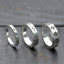 S925 Sterling Silver Jewelry Vintage Eternity Ring Couple Punk Crusader Flower Thai Silver Ring Gift s925 pure silver vintage ring men s personality gold wings patron saint silver ring