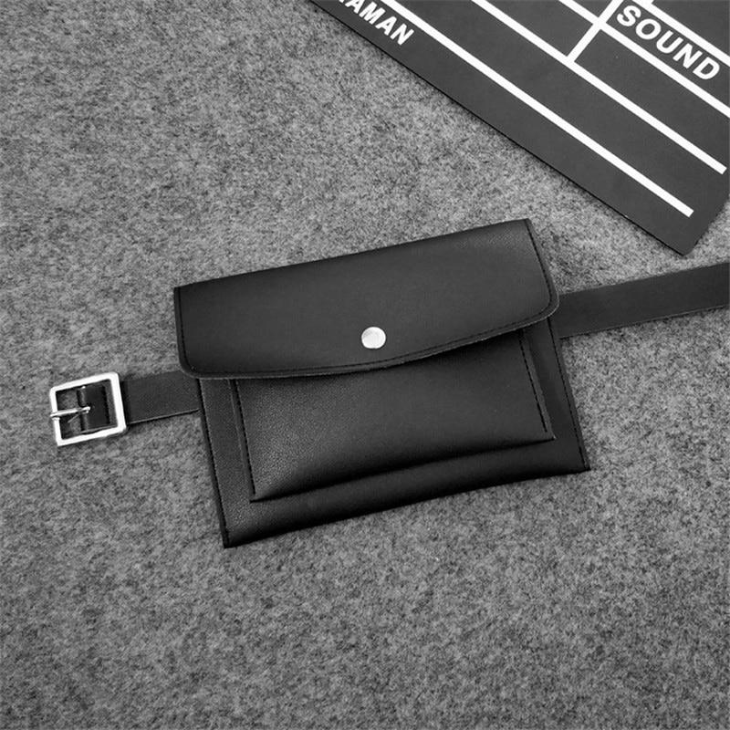 Fashion Women Bag PU Leather Waist Pack Femal Belt Bag Phone Pouch Bags Hotsale Women Waist Packs(Black)