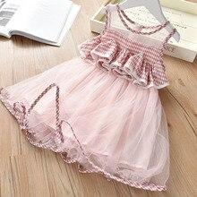 New  Baby Dresses Summer Striped Plaid Girl Dress sleeveless Mesh Design clothes Princess dress Kids clothing