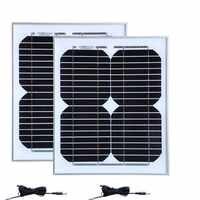 Solar Camping Kit 20w Rv Panel Solar 10w 18v 2 piezas DC Cable de cargador Solar 12v coche batería caravana campamento coche luz automotriz