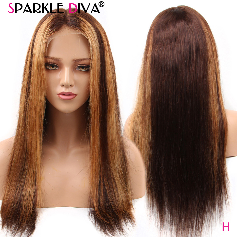 Ombre Blonde Lace Front Human Hair Wigs Pre Plucked Brazilian Human Hair Wigs For Women 13*4 Lace Wig #4/27 Blonde Remy Wigs