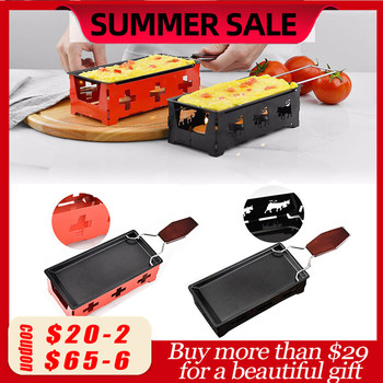 Grill Cheese Raclette Set Non-stick Griller Mini BBQ Cheese Board Baked Cheese Oven Iron Swiss Cheese Melter Pan Tray фото