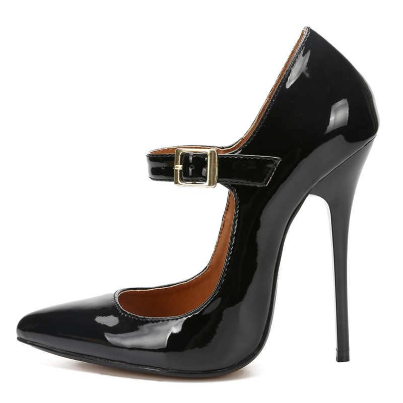 Büyük boy 48 kadın topuklu 2020 ilkbahar sonbahar yüksek topuklu seksi kadın ayakkabı sivri burun PU deri pompa kadın düğün parti ayakkabıları