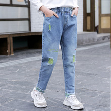 2020 New Girls Jeans Kids Spring Broken Hole Jeans Fashion Elastic Waist Pants Baby Girl Trousers Casual Denim Pants