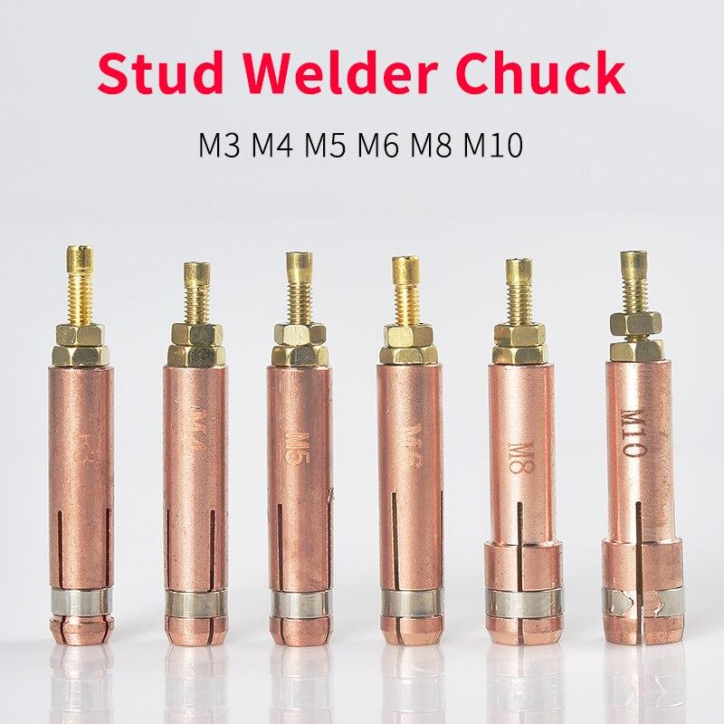 10Pcs Stud Schweißen Chuck spannzangen M3 M4 M5 M6 M8 M10 Rot Kupfer Stud Schweißen Maschine Kondensator Energie Lagerung schweißer Zubehör