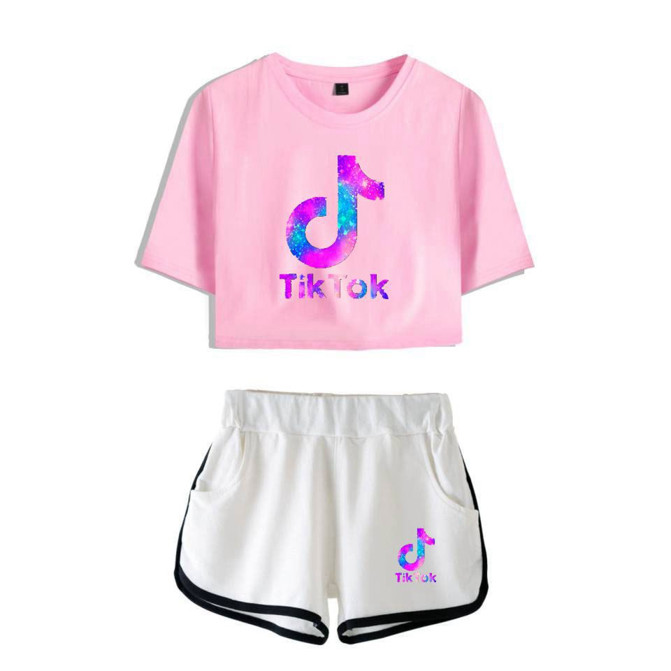 Girls Boys TIK-ToK T-Shirt Tops /& Shorts 2 Pieces Clothes Sets,Workout Tracksuit Sportwear Fashion Short Sleeves Tees /& Short Pants Suit Outdoor for Kids