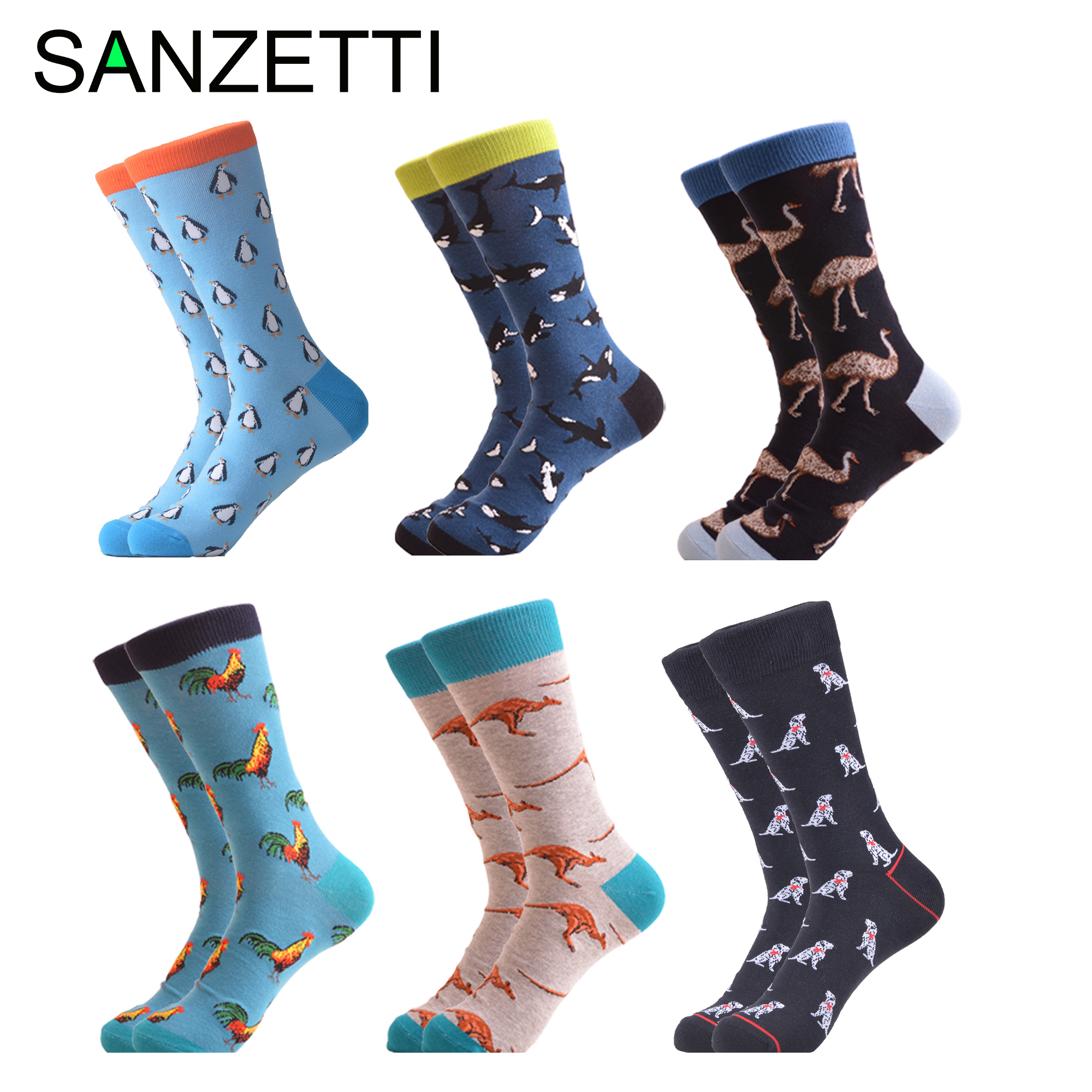 SANZETTI 6 Pairs Men's Socks Colorful Casual Combed Cotton Harajuku Comfortable Wedding Birthday Party Gift Dress Outdoor Socks