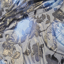 Шелковая Опаловая ткань 13 мм 44 ''114 см Ширина золотой металлик цветочный узор шелковая жаккардовая парча для женских платьев