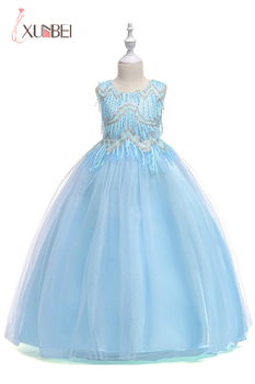Flower Girl Dress Sequined  Tulle Appliqued Pageant Dress For Children Wedding Party Evening Gown Kids Prom Cocktail Dresses New romantic gorgeous little girl ball gown scoop appliqued glitz pageant 2018 flower girl dresses long for children prom party gown