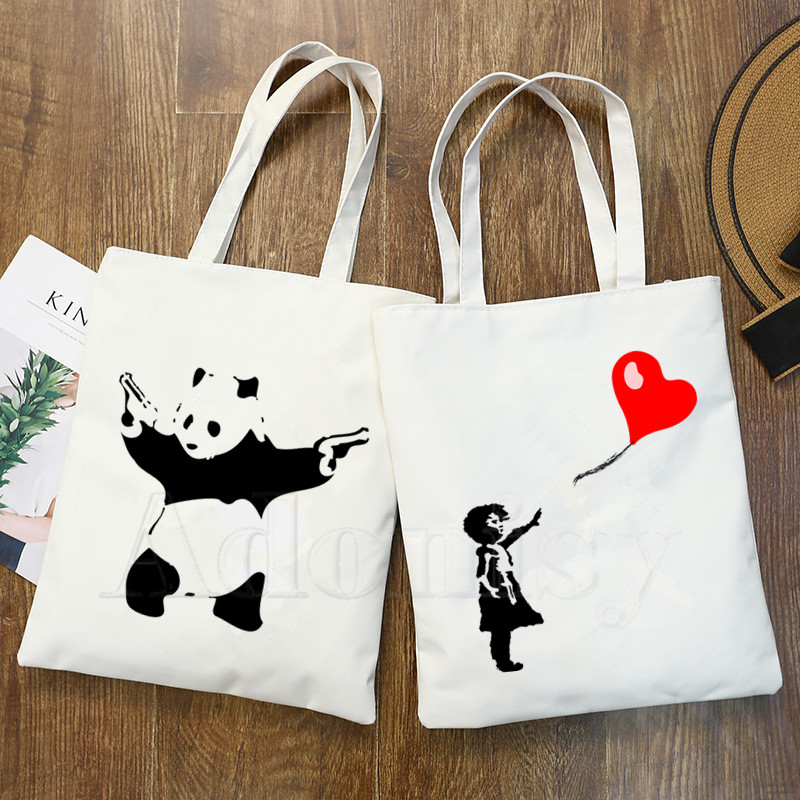 Banksy Urban Design Art Print Reusable Shopping Bag Women Canvas Tote Bags Printing Eco Bag Cartoon Shopper Shoulder Bags