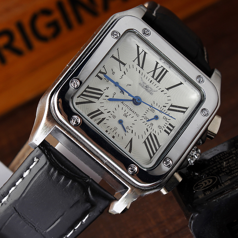 Luxury Automatic Mechanical Self-Winding Men Watch Square Case Calendar Display Roman Numerals Leather Strap Wrist Watch Gifts