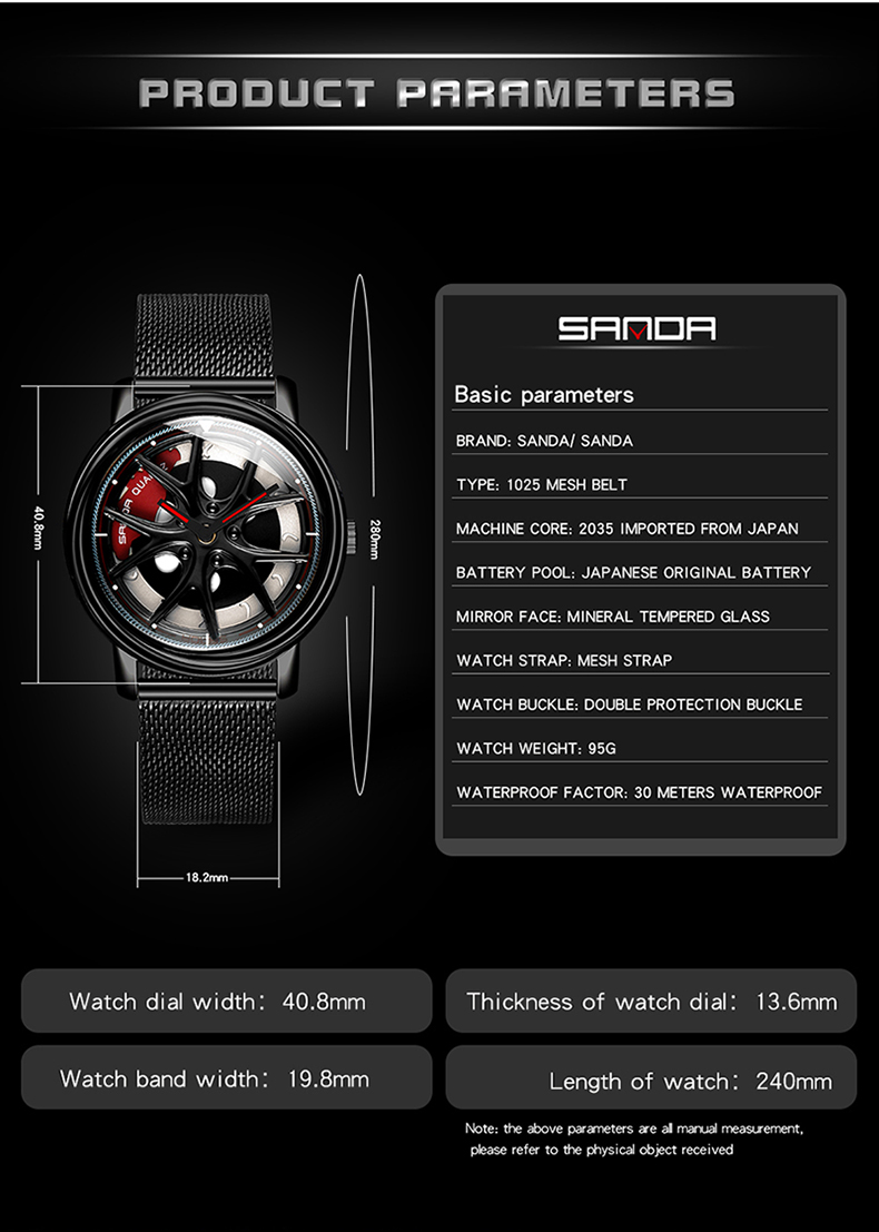 relógio de pulso estilo simples 3bar malha