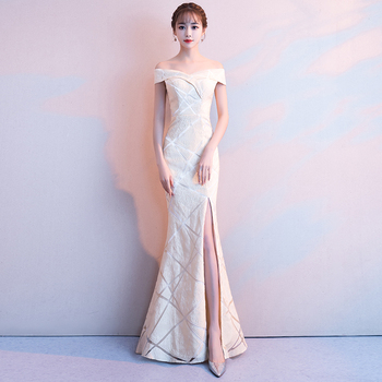 Evening Dress White Mermaid Long Formal Party Gown Boat Neck Off The Shoulder Women Robe De Soiree Backless Elegant Dresses F122