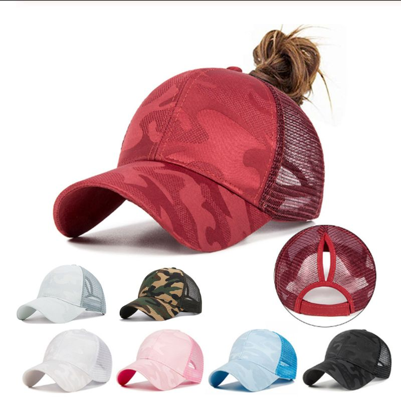 Women Summer Trendy Ponytail Messy Bun Cap Lady  Hip Hop Camouflage Jacquard Breathable Mesh Back Adjustable Snapback Hat
