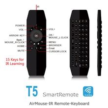 T5 Mic Voice Air Mouse IR Learning Remote Control Mini Wireless Keyboard For Android TV Box PC Laptop недорого