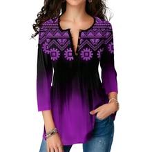 Dropshipping kobiety Plus rozmiar koszulki z długim rękawem Gradient t-shirt z nadrukiem podział dekolt 3XL 4XL 5XL jesień pani ubrania
