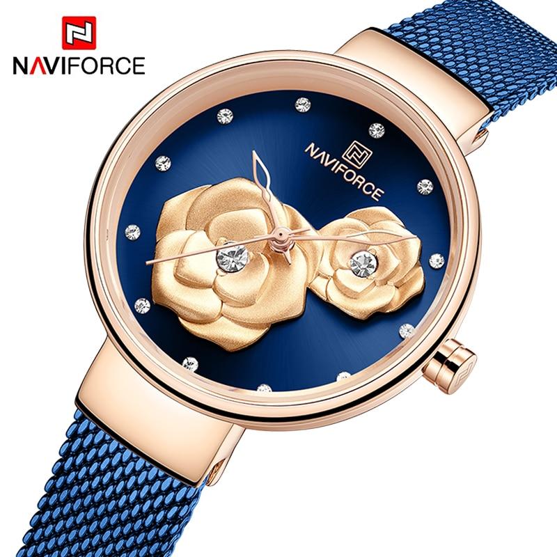 Top Luxury Brand NAVIFORCE Ladies Watch Fashion Creative 3D Rose Women wrist watches Casual Dress Clock Relogio Feminino 2020(China)