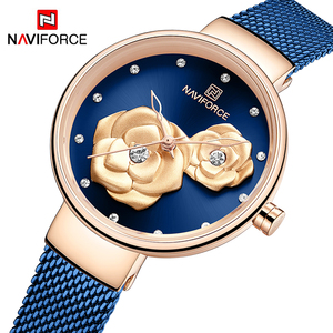 Top Luxury Brand NAVIFORCE Ladies Watch Fashion Creative 3D Rose Women wrist watches Casual Dress Clock Relogio Feminino 2020(China)