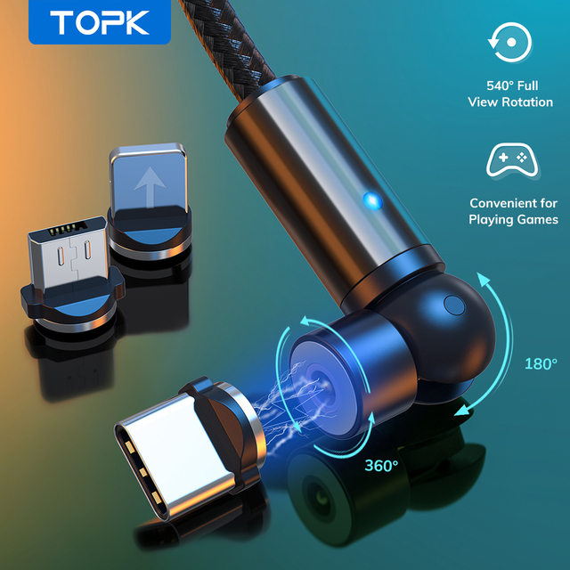 TOPK 540 Rotate Magnetic Cable Micro USB Type C Cable Magnetic Charging Charger Cable For iPhone 11 Pro XS Max Samsung Xiaomi